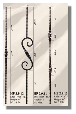 Short Twist  wrought iron balusters
