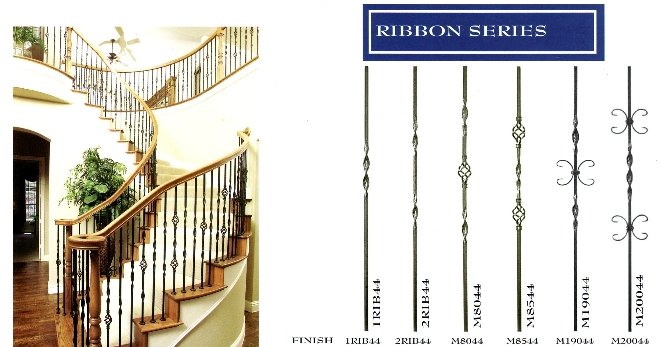 RIBBON IRON STAIR BALUSTERS with the 6010 red oak handrail a double bull-nose starting step