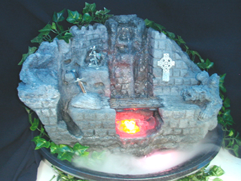 Medevil Lava Rock Fountain with sword in Stone, Celtic Cross and pewter knight