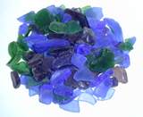 tumbled glass, blue, green and purple mix, aquarium color glass