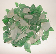 Mix of frosted white and emerald color sea glass, light mix green tumbled glass