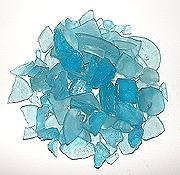 Aqua color sea glass, teal aquarium glass